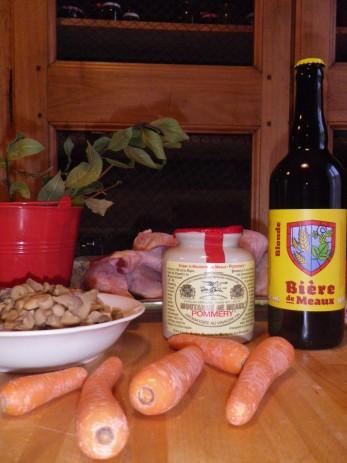 Préparation du mijoté de poulet à la Bière et Moutarde de Meaux